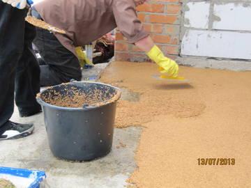 Процесс по укладке бесшовного покрытия