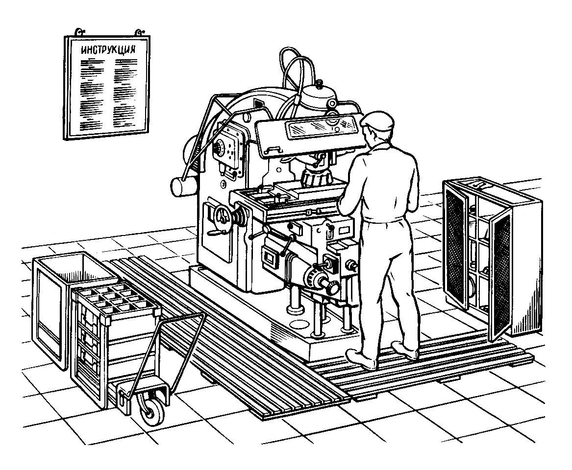 Рабочий за станком в цехе