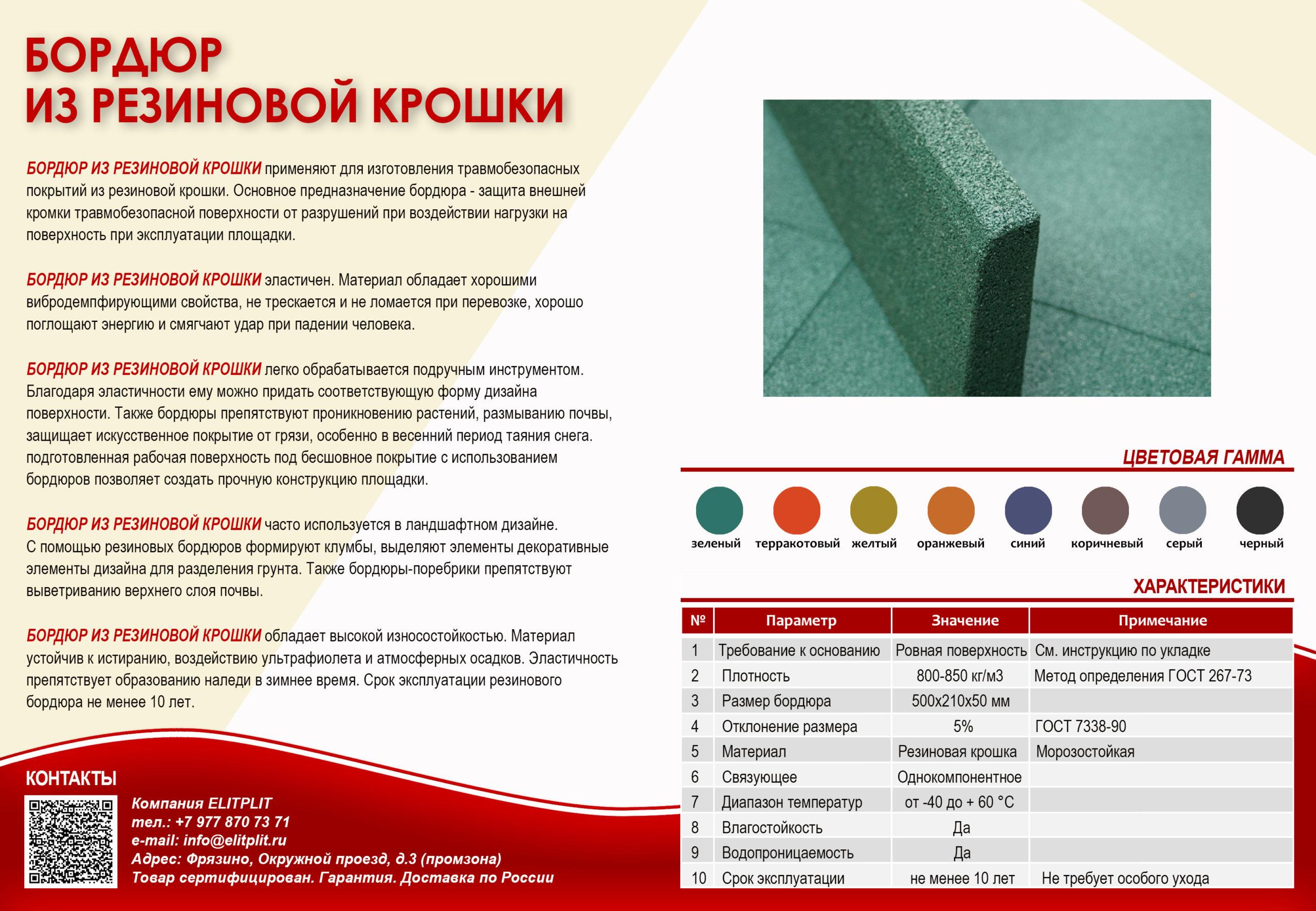 Резиновый бордюр 500х210х50 мм для детских площадок