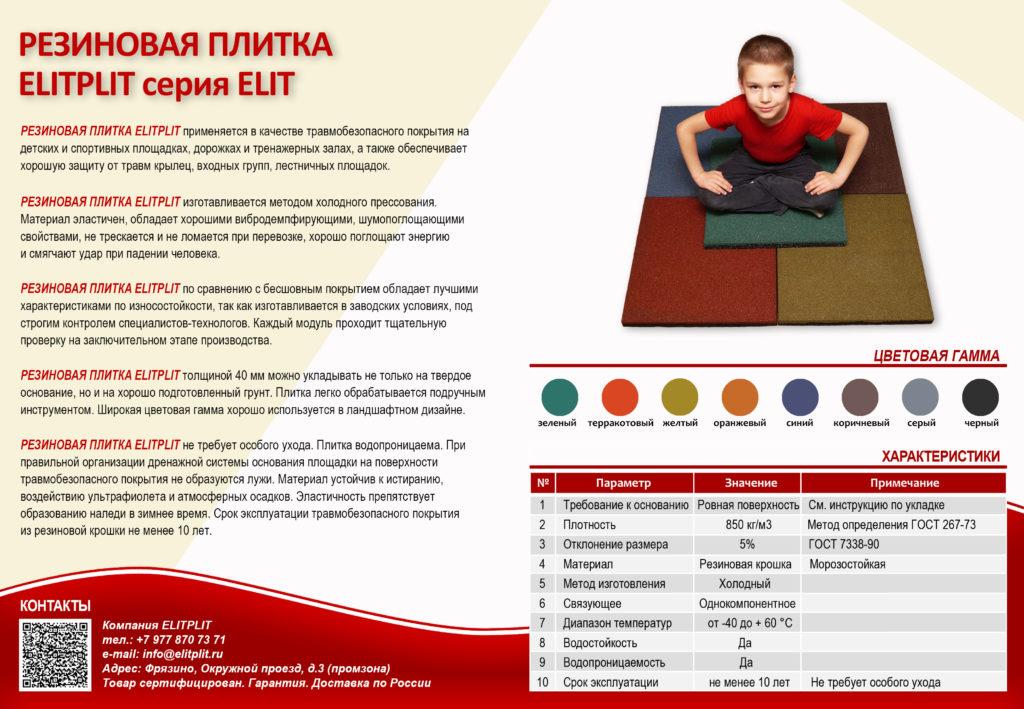 Резиновая плитка ELITPLIT серия Elit для детских площадок