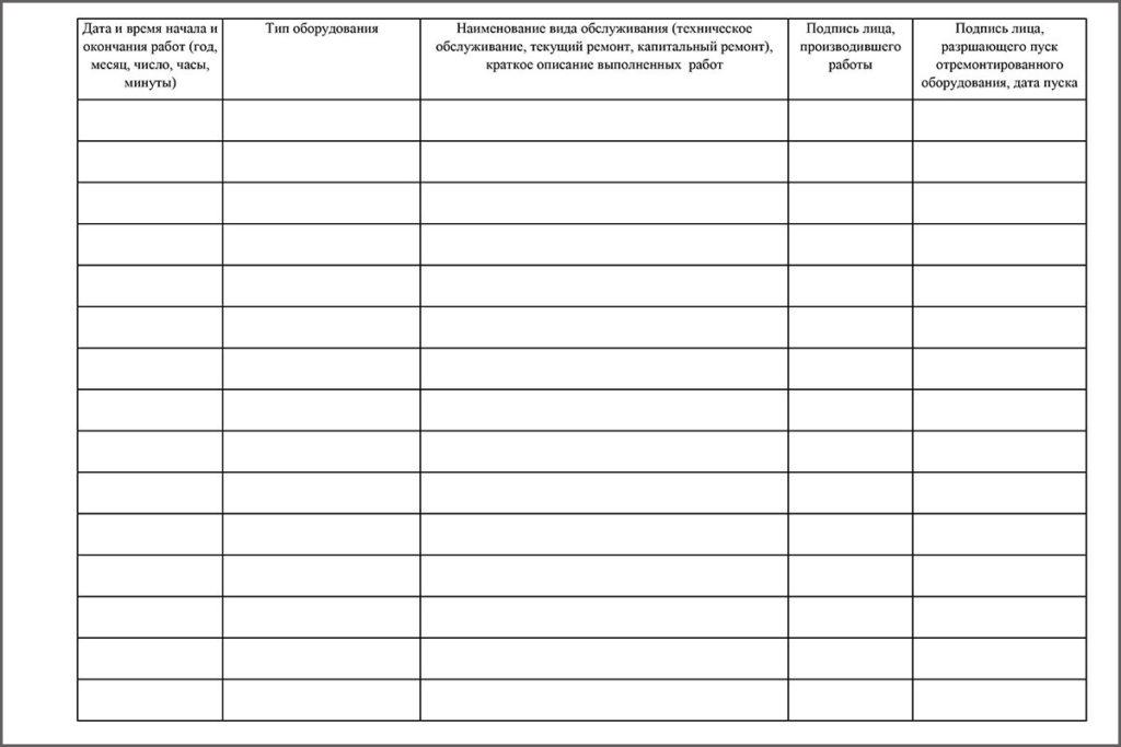 Таблица для заполнения в журнале обслуживания